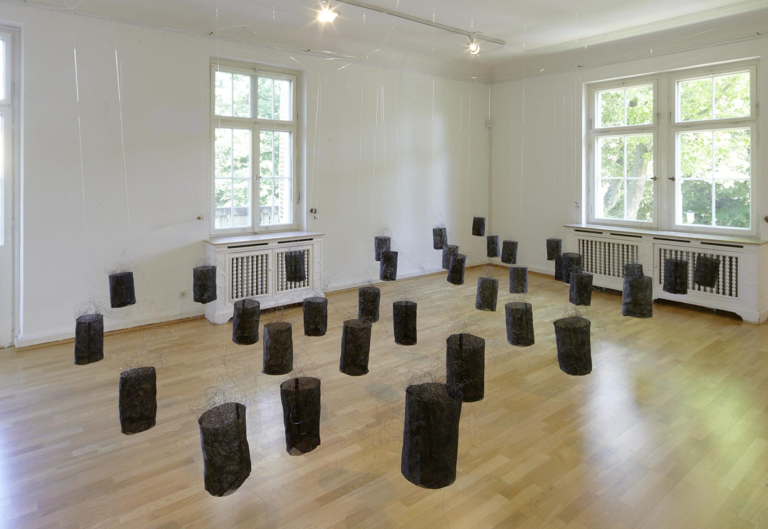 """""""Hirngespinste"""", 2012, Eisendraht, Stramin, Tusche, 35-teilig"""